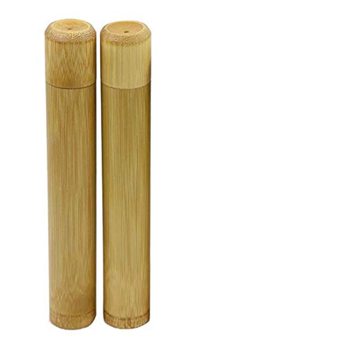 PUTYSUUN Travel Size Natural Bamboo Toothbrush Case with Drainage Holes, Travel Toothbrush Container, Pack of 2