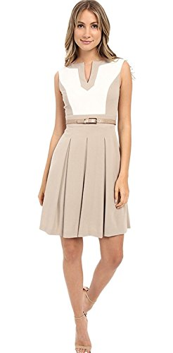 Tahari by ASL Women's Sleeveless Color Block A-Line Dress w/ Pleated Skirt Saddle/Ivory Dress