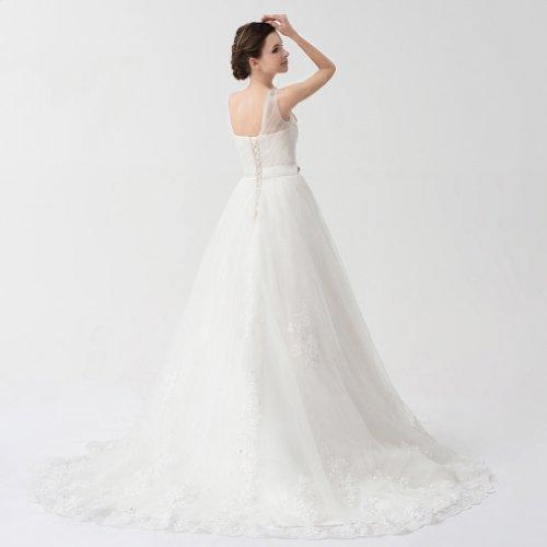 Kleidungen Applikation Hof Mit Schleppe Kristall A Dearta 1 Prinzessin Damen Schulter Tuell Weiß Brautkleider Linie Drapiert 0xq75Aq