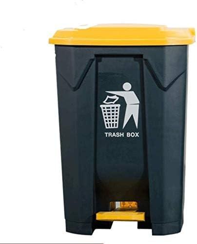 POIUY 大型プラスチックごみ箱、カバードペダル酷いビン50L、80L、100L屋外屋内キッチン商業コミュニティホテル (Color : Yellow, Size : 100L)