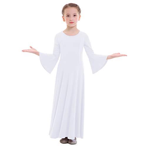 Girl's Kid's Classics Flowy Liturgical Praise Full Length Long Sleeve Lyrical Dance Dress Worship Praise Dance Pullover Pleated Dresses Christmas Lyrical Maxi Skirts White 11-12 Years -