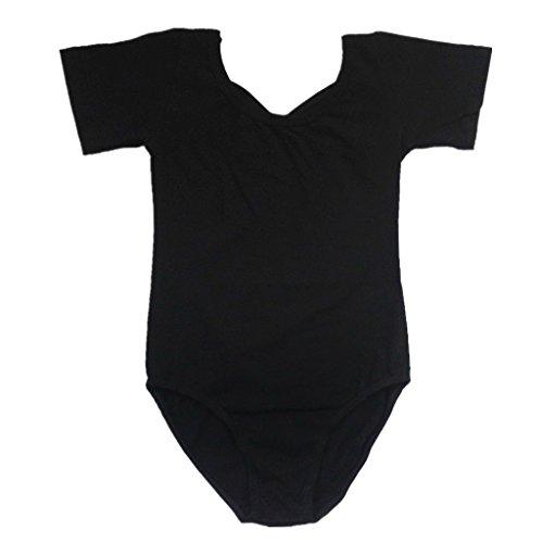 BHL Girls Gymnast Short Sleeve Leotard 3-14 Years (3-5 Years, Black)