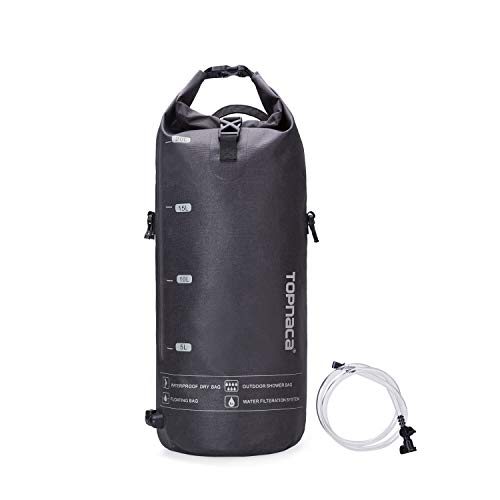 Topnaca Outdoor Seaside Multifunctional 20L Bucket Dry Bag, Lightweight Collapsable Sealed Tactical Waterproof Shower Backpack for Kayaking, Rafting, Boating, Swimming, Camping, Hiking,Surfing