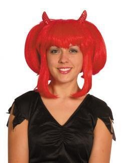Gothic Queen Red Fancy Dress Halloween Trick or Treat Wigs for Costumes & Out...