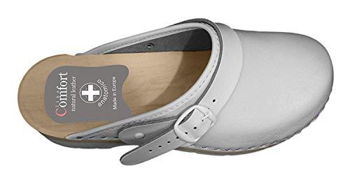 Hôpital Sabots ESTRO CDL01 Femmes Bianco Cuir Orthopédiques Mules Chaussures en Sabots Femme UggXwC