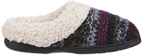 Dearfoams Wide Chunky Slipper Black Clog Knit Multi Women's Width AqROA