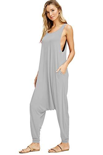 Annabelle Women's Pocketed Full Length Baggy Harem Plus Size Jumpsuit L Grey XXX-Large J8004X