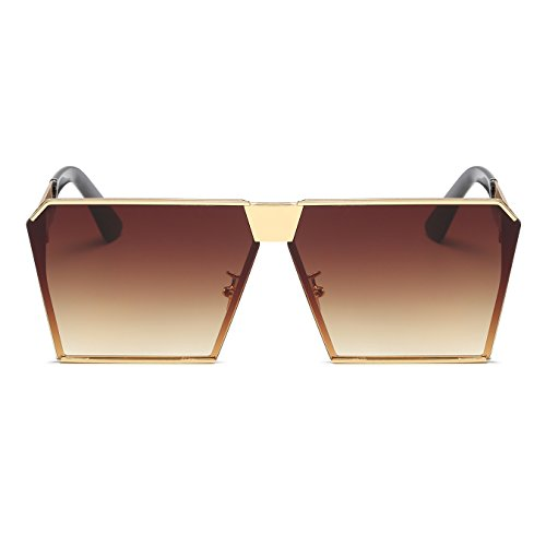 Top Sunglasses Oversized CVOO Metal Square Flat Brown Sunglasses Frame wYPqZRY0