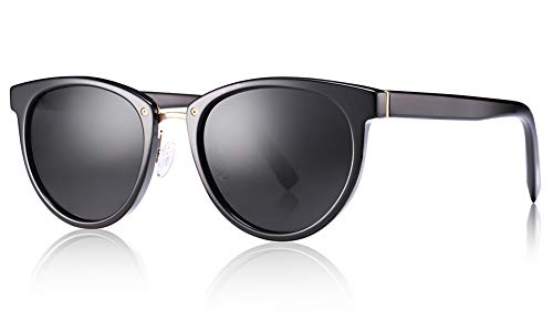 Carfia Designer Shiny Acetate Frame Polarized Sunglasses for Women UV400 Protection (Carfia Vintage Womens Polarized Sunglasses With Uv400 Protection)