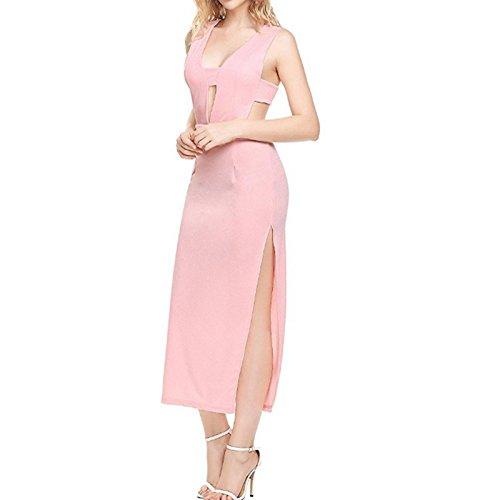 Rosa XINGMU Slim Solid Largo De Mangas Mujer Dividido Sin Camiseta Vestido Vestidos qrFq1A