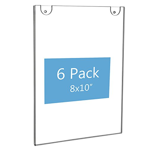 NIUBEE 8x10 Acrylic Wall Sign Holder Vertical, Clear Plastic Ads Frame for Paper, Bonus with 3M Tape and Mounting Screws(6 ()