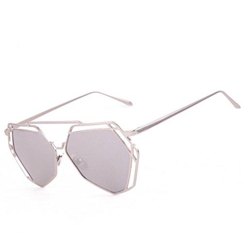 Transer Twin-Beams Geometry Design Women Metal Frame Mirror Sunglasses Cat Eye Glasses (Silver)