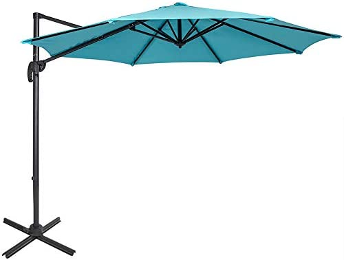 Sundale Outdoor 10ft Offset Hanging Umbrella Market Patio Umbrella Aluminum Cantilever Pole with Crank Lift, Corss Frame, Polyester Canopy, 360 Rotation, for Garden, Deck, Backyard Light Blue