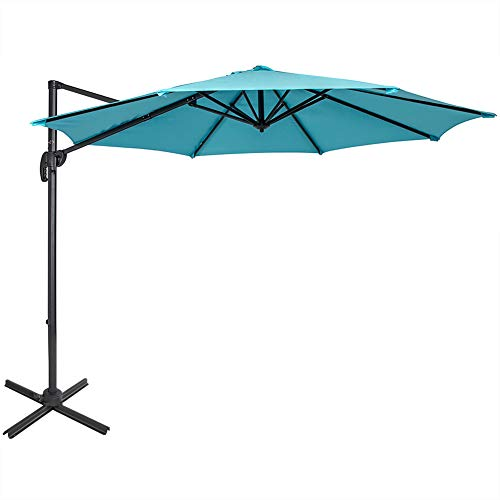 Sundale Outdoor 10ft Offset Hanging Umbrella Market Patio Umbrella Aluminum Cantilever Pole with Crank Lift, Corss Frame, Polyester Canopy, 360 Rotation, for Garden, Deck, Backyard Light Blue