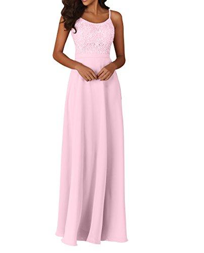 Promkleider Rosa La Abschlussballkleider Abendkleider A Linie Brau Spitze mia Langes Chiffon Partykleider Brautjungfernkleider UwUrf0x7