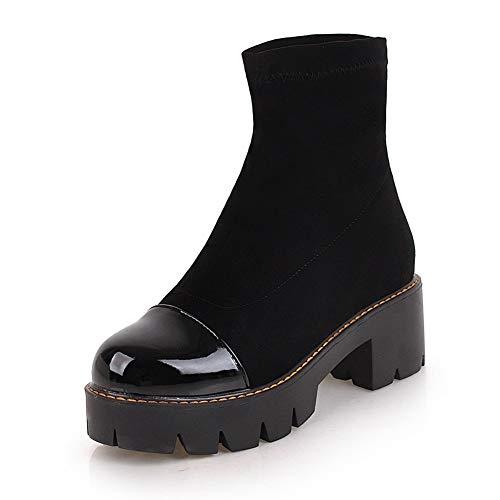 Botines Más La Estilo Black 33 Invierno De Tacones A El Botas Mujer Hoesczs Calle 43 Gruesos Zapatos Tamaño Otoño Plataforma Estrenar qxPzzw0E