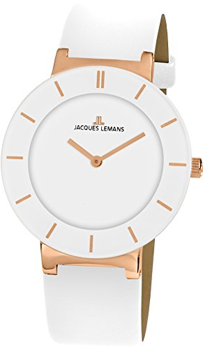 Jacques Lemans Women's Clasic Monaco 38mm White Leather Band Rose Gold Plated Case Quartz Watch 1-1867D