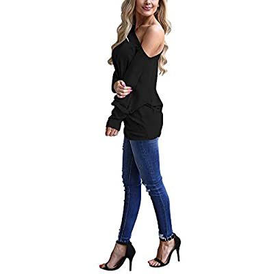 INFITTY Women's Off Shoulder Loose Pullover Sweater Batwing Sleeve Knit Jumper Oversized Tunics Top at Women's Clothing store