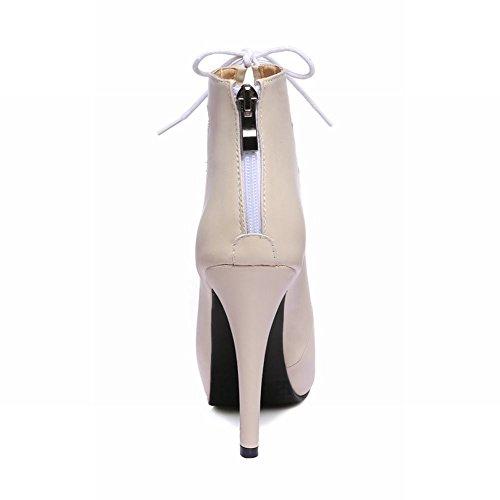 Pied De Charme Femmes Style Roma Plateforme Haut Talon Peep Toe Robe Sandale Abricot