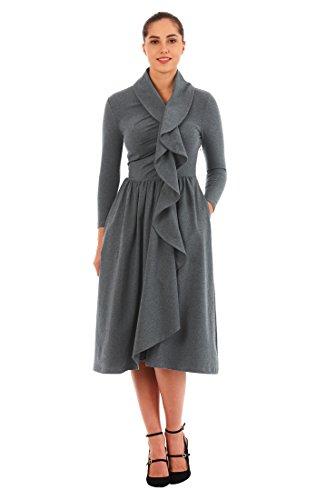 Ruffle Front Cotton Dress - 1