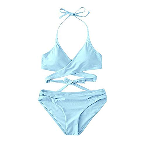 (ZAFUL Women's Sexy Halter Wrap Bikini Cross-Cover Padded Swimsuits (Light Sky Blue M))