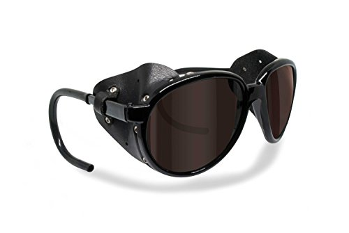 - Bertoni Polarized Sunglasses for Mountain Hiking Trekking Glacier Snow by Italy mod. Cortina Shiny Black (Dark Brown Polarized)