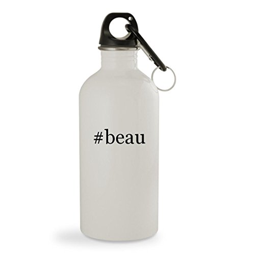 #beau - 20oz Hashtag White Sturdy Stainless Steel Water Bottle with Carabiner
