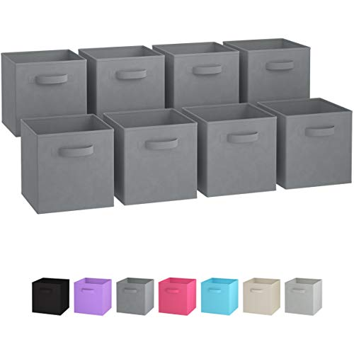 Royexe Storage Bins - Set of 8 - Storage Cubes | Foldable Fabric Cube Baskets Features Dual Handles. Cube Storage Bins. Closet Shelf Organizer | Collapsible Nursery Drawer Organizers (Grey) -