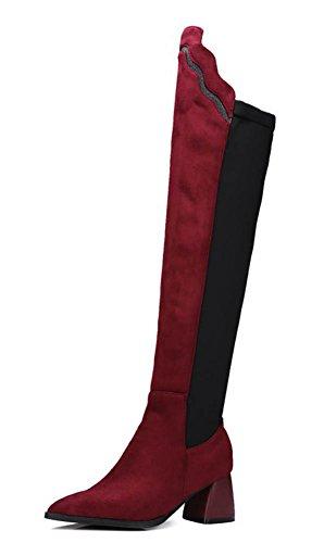 Aisun Womens Fashion Falbala Pointed Toe Dress Chunky Medium Heel Over Knee High Boots Shoes Red 3d6licr