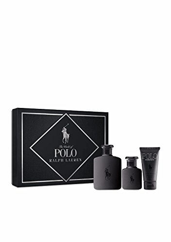 Ralph Lauren Polo Double Black 3Pc Gift Set for Men (Eau De Toilette Spray 4.2 Oz + Eau De Toilette Spray 1.36 Oz + Aftershave Gel 1.7 Oz