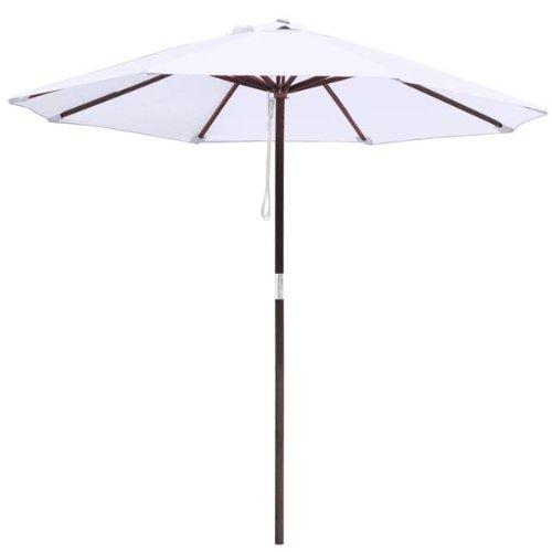 8ft Wooden Umbrella Wood Pole Outdoor Garden Yard Patio Beach Market Cafe 8' White (Patio Umbrella White Pole)