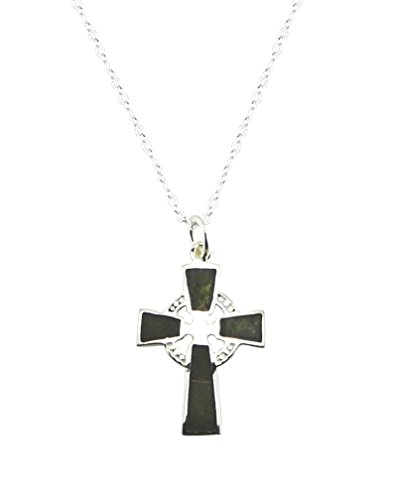 Cross Marble Connemara (Irish Connemara Marble and Sterling Silver Small Cross Pendant)