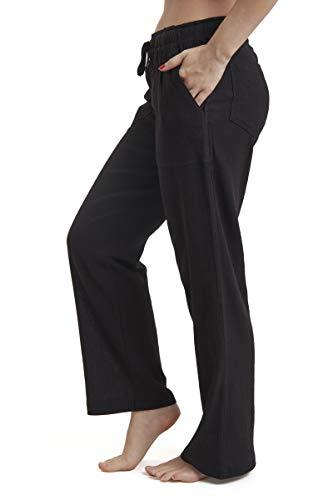 J & Ce Women's Gauze Cotton Beach Pants with Pockets (Black, XL)