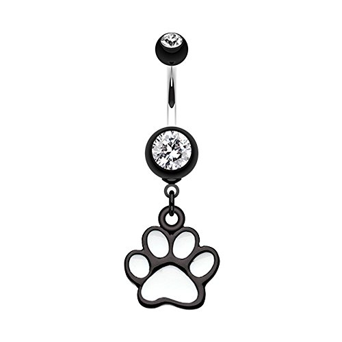 Bazooky Paw Print Belly Button Ring (Many Colors!) (Black) from Bazooky Jewelry