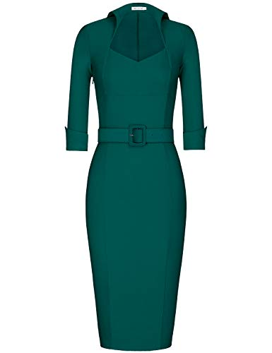 - MUXXN Ladies Classic High Collar High Stretch Formal Office Work Dress with Belt (Dark Green M)