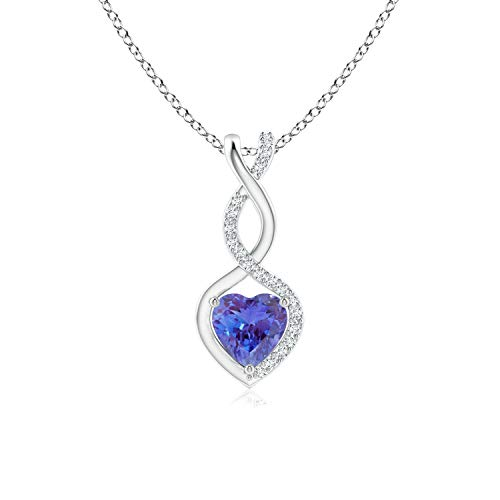 Tanzanite Infinity Heart Pendant with Diamonds in Silver (5mm Tanzanite)