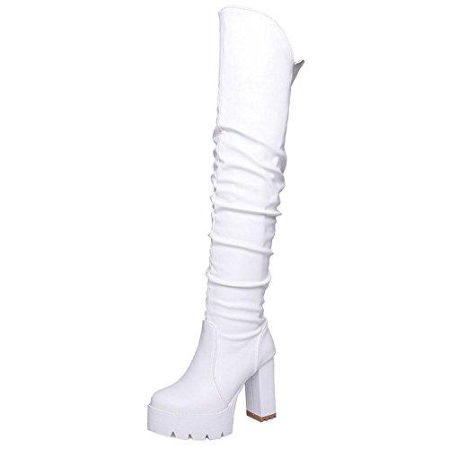 COOLCEPT Damen Stiefel Ohne Verschluss Chunky Sole White
