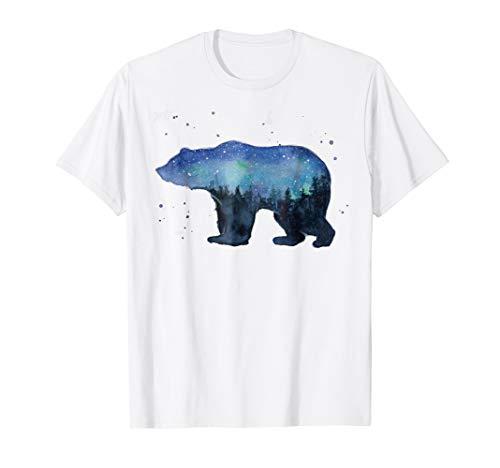 (Galaxy Forest Bear T-shirt, Bear Watercolor Silhouette Shirt)