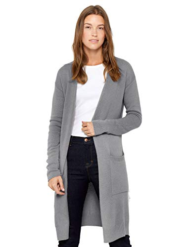 State Cashmere Mid-Length 100% Pure Cashmere Open Cardigan Long Sleeve Sweater for Women (Small, Grey)