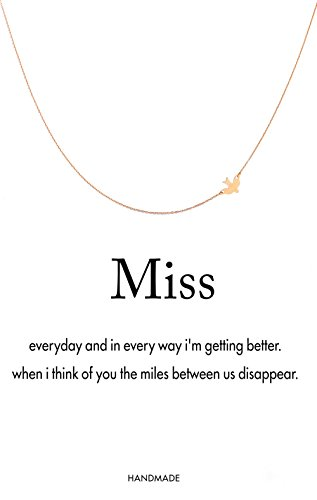 """Monily Message Card """"Miss"""" Dove Pendant Necklace Animal Choker Necklace For Woman Jewellery"""