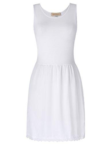 Kate Kasin White Elegant Solid Full Slip Cotton Comfortable Underdress S (Cotton Slip Full Slip)
