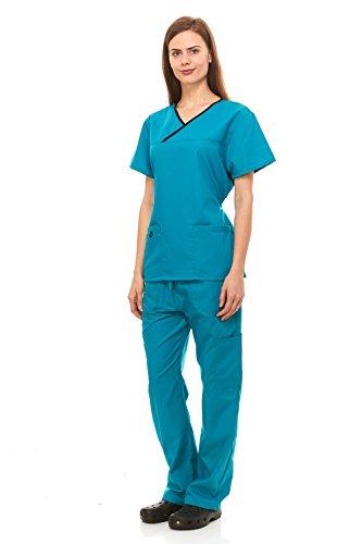 Denice Womens Medical Uniforms Contrast Crossover Nurses Scrub Set 943 (2X-Large, Teal/Black)