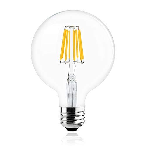 Bonlux Vintage Dimmable LED Filament Bulb G40-8W LED Light Bulb G125, Medium Screw E26 Base, Clear Warm White 2700K, LED Edison Bulb 75 Watt Incandescent Replacement
