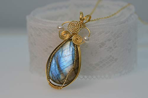 Large Bronzite Pendant Brown Stone Pendant Wire Wrapped 14K Gold-filled Wire