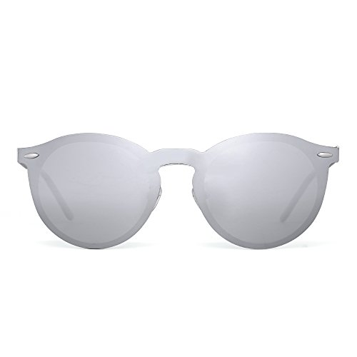 Polarized Rimless Sunglasses One Piece Reflective Round Mirror Glasses Men Women (Sliver / Polarized - Silver Jim