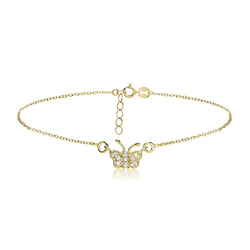 Hoops & Loops Flash Yellow Gold Tone Sterling Silver Cubic Zirconia Butterfly Chain Anklet