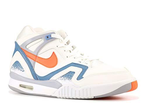 (Nike Men's Air Tech Challenge II White/Orng Brst/Cly Bl/Flt SLV Tennis Shoe 9.5 Men US)