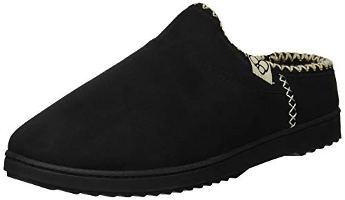 Dearfoams Women's Microsuede High Vamp Clog Slipper, Black, S Regular US ()