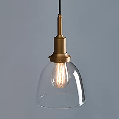 """Phansthy Vintage Style Industrial Pendant Light 1 Light Edison Hanging Light 6.7"""" Dome Clear Glass Light Shade"""