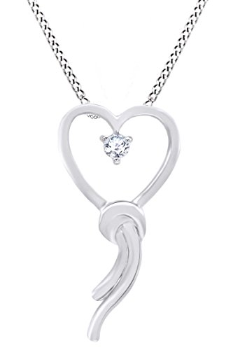 Diamond Bow Pendant Necklace (White Natural Diamond Accent Heart Bow Pendant Necklace 925 Sterling Silver (0.05 Ct))